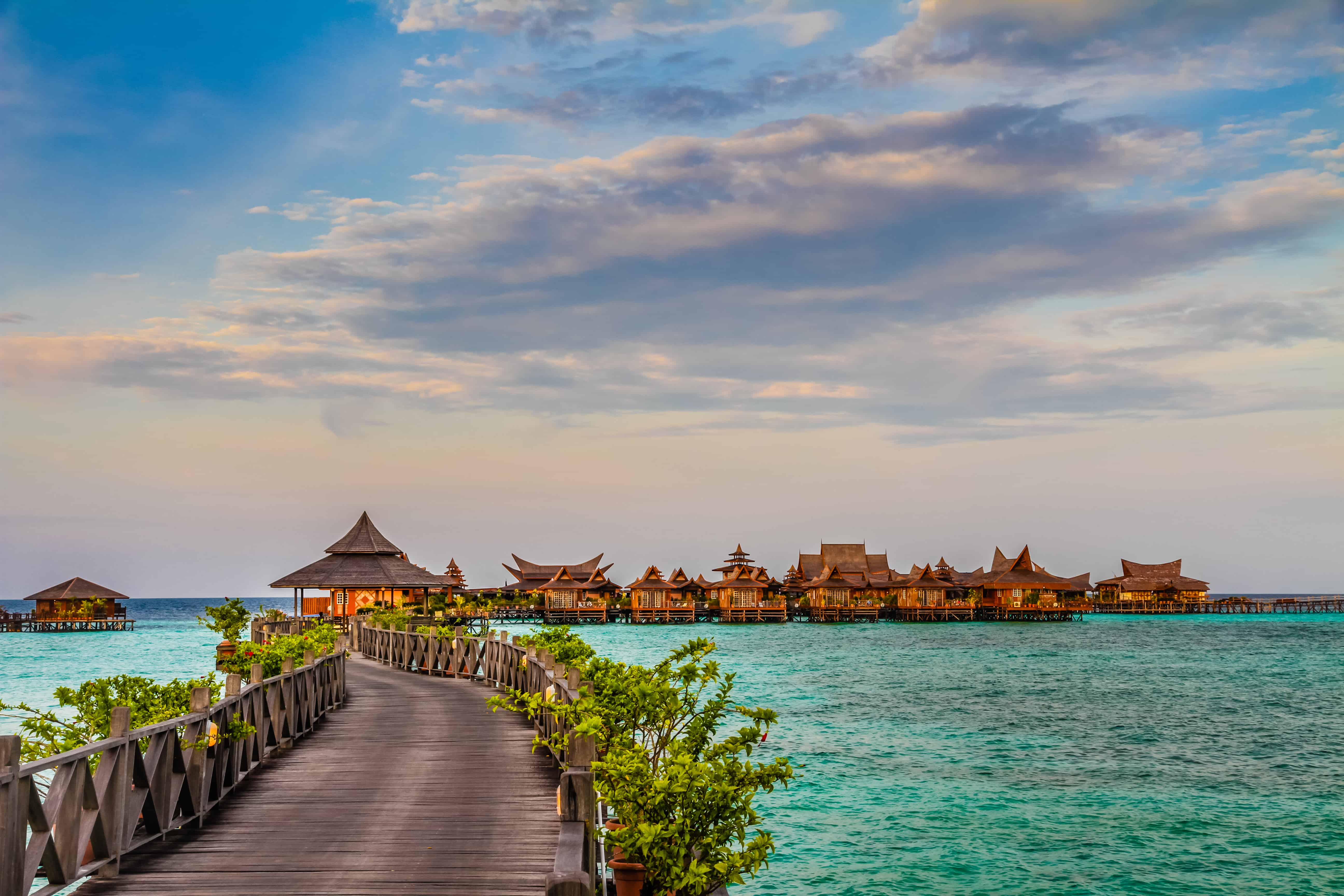 Water bungalows at Mabul Island best tropical vacation spots